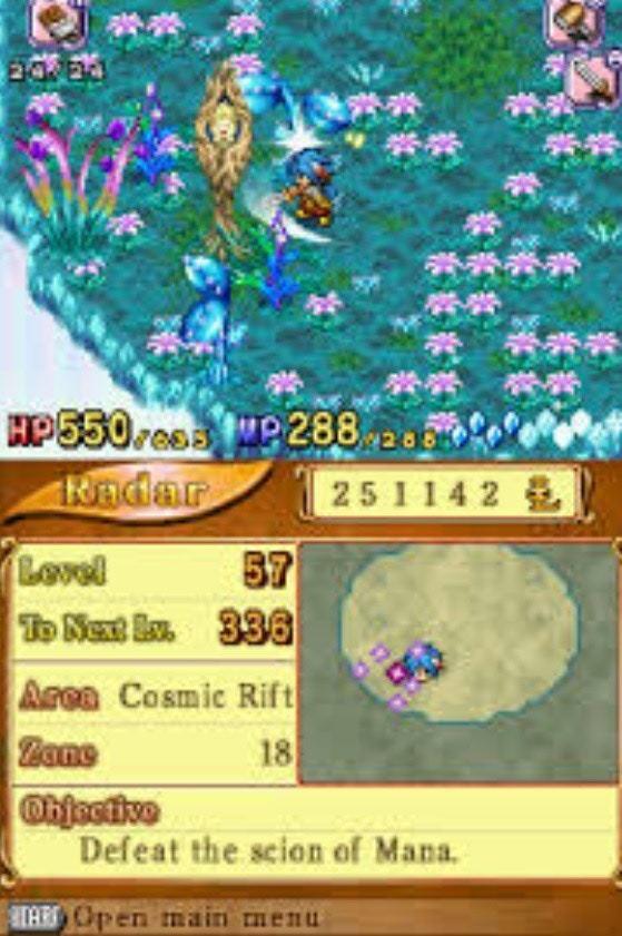 《聖劍傳說DS》以兩組螢幕顯示(遊戲截圖)