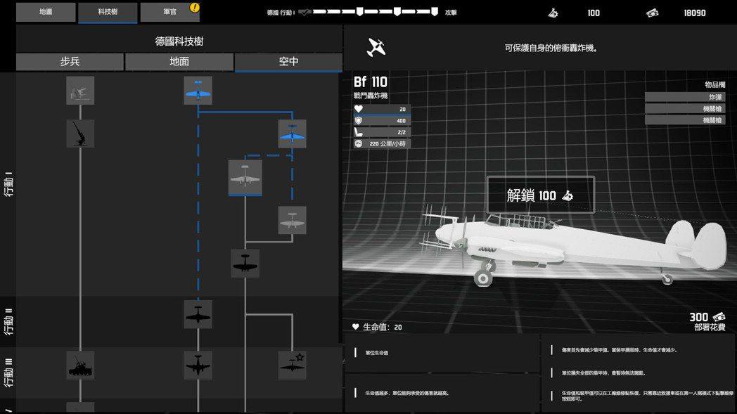 遊戲有科技樹系統,可以讓玩家使用點數解鎖更強的單位。