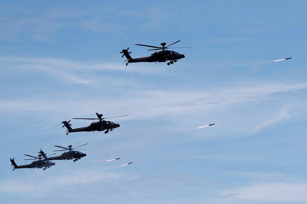 2019年漢光演習AH-1W超級眼鏡蛇發射地獄火飛彈。 圖/美聯社