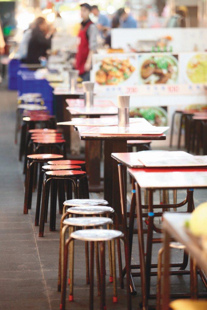 新冠肺炎疫情重創餐飲等產業,包括士林夜市也生意慘澹,用餐座位空蕩蕩。圖/聯合報系資料照片
