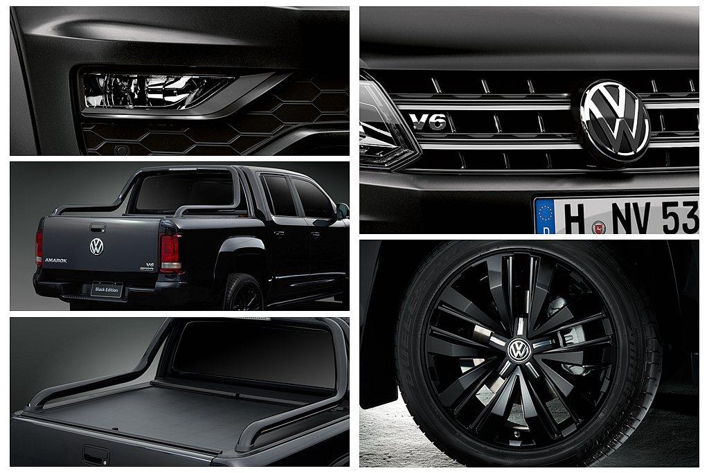 福斯商旅Amarok V6 Black Edition在車頭鍍鉻件上方增添闇黑色...