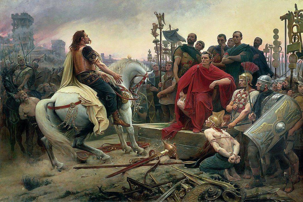 在公元前一到二世紀,高盧慢慢成為羅馬的一省,拉丁語因而征服了高盧社會。圖為19世...