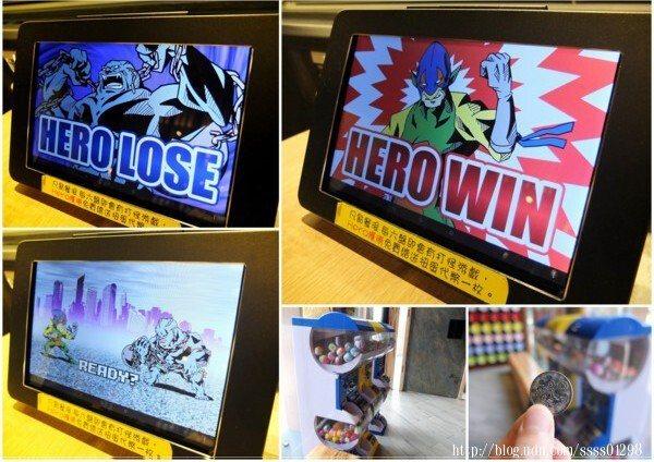 點滿六盤菜就有一次玩遊戲抽獎的機會喔!只要螢幕出現「HERO WIN」就中了