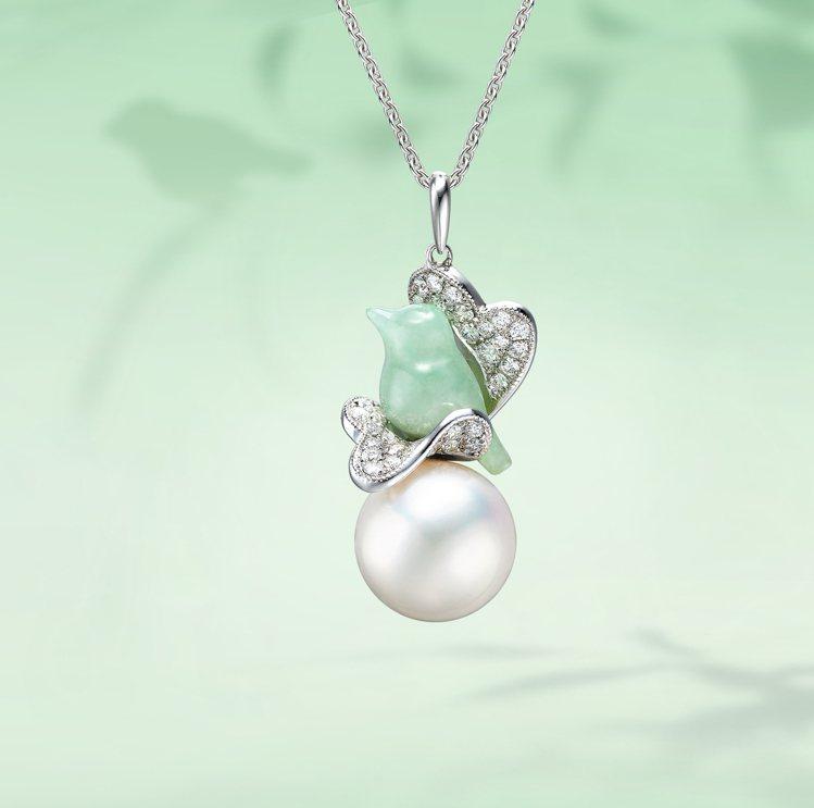 林曉同珍珠青鳥墜飾新作,87,800元起。圖/林曉同珠寶提供