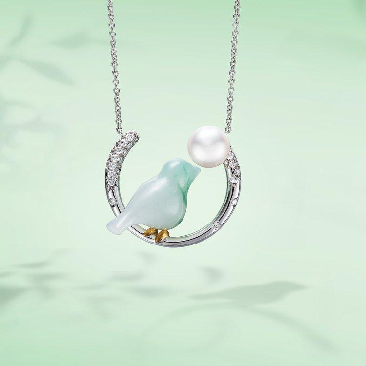 林曉同珍珠月亮青鳥套鍊新作,10萬8,000元。圖/林曉同珠寶提供
