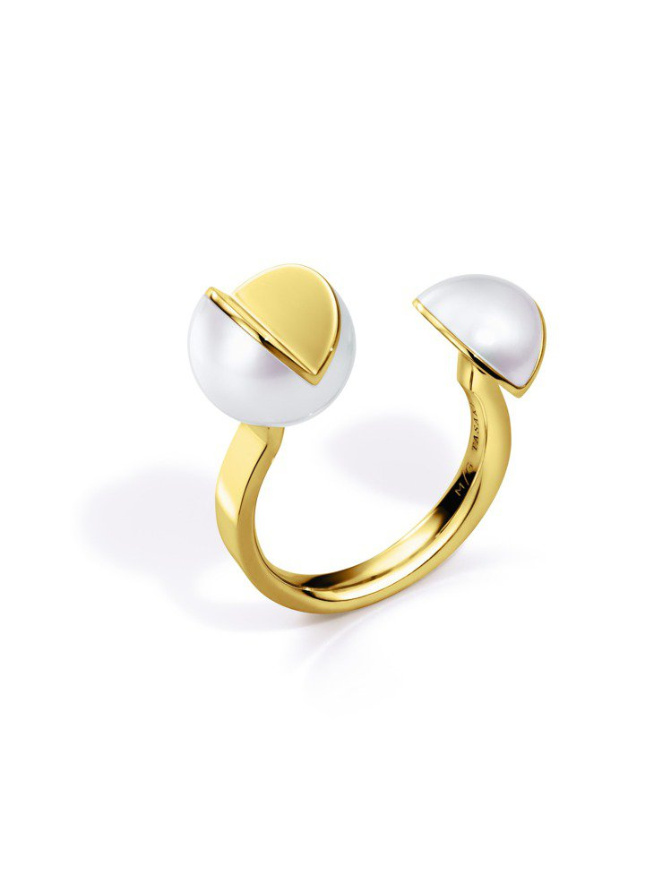 M/G TASAKI系列WEDGE珍珠黃K金戒指,10萬1,000元。圖/TAS...