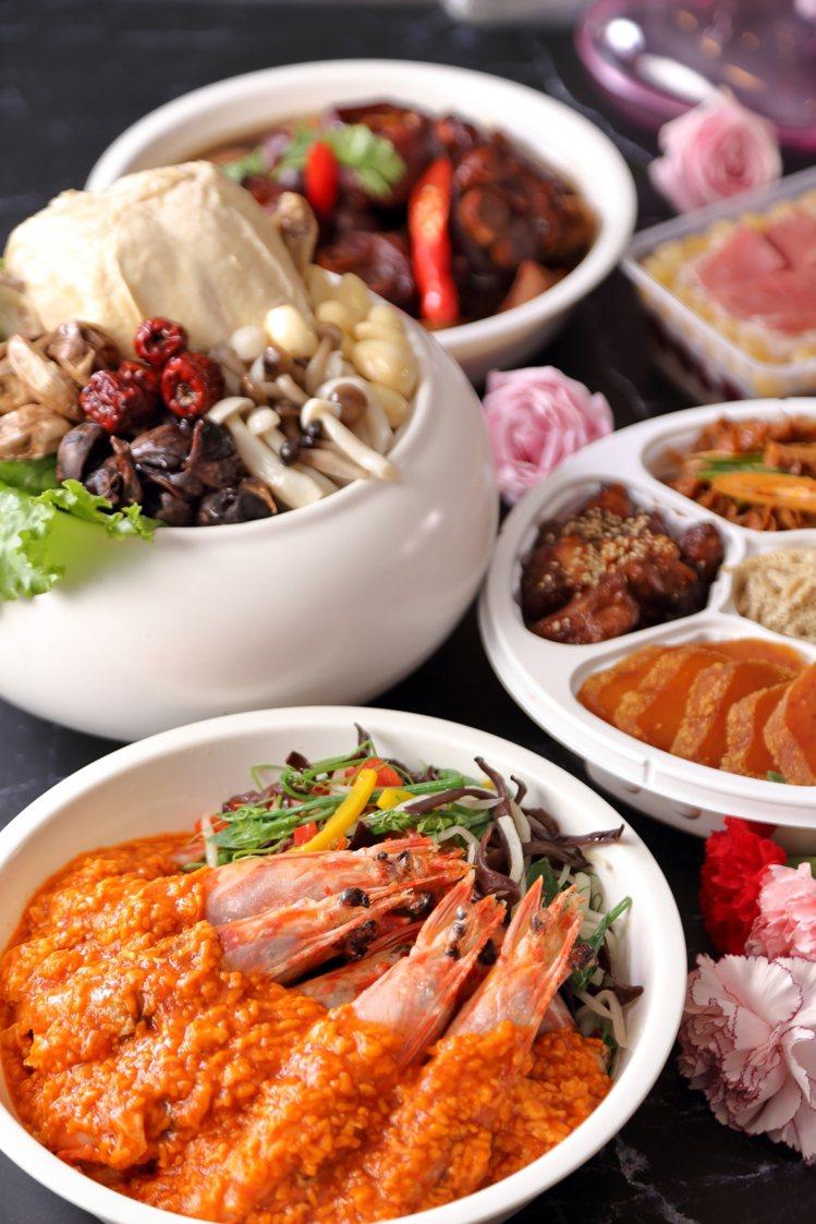 晶華母親節檔期強打五星美饌「快熱送」,推出每套五道式、可供4~6人食用的外賣桌菜...