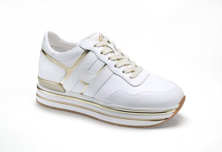 台灣限定HOGAN Midi H222 金色鏡面休閒鞋,20,900元。圖/迪生...