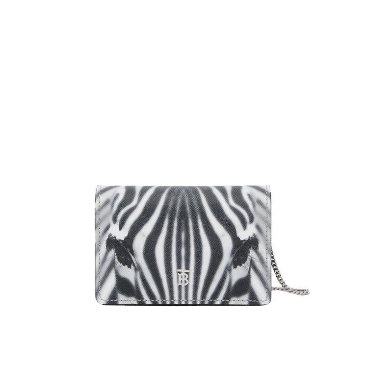 斑馬印花皮革卡片夾附可拆式背帶,售價18,800元。圖/BURBERRY提供