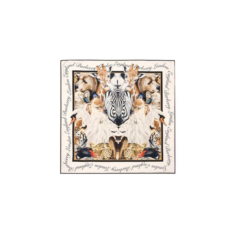 夢境動物紋數位印花絲質方巾,售價14,800元。圖/BURBERRY提供