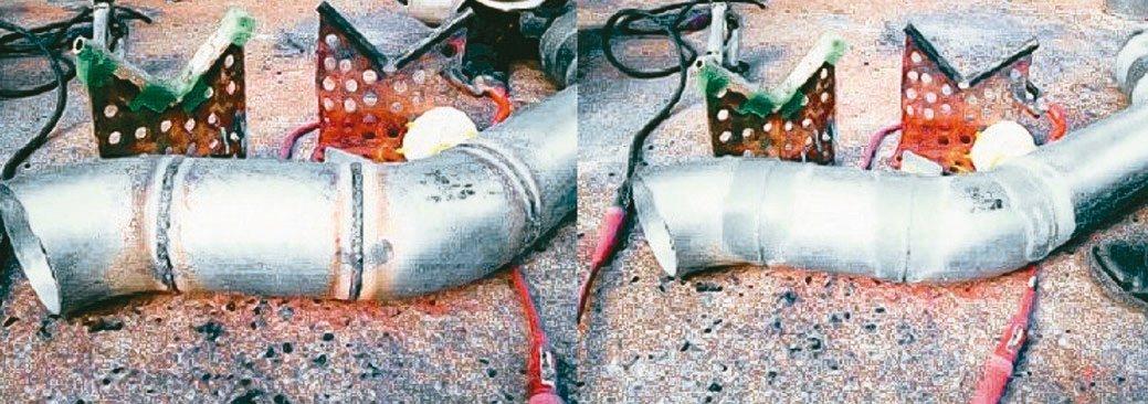 鋼鐵物件塗刷了ROVAL冷鍍鋅防鏽塗料(右圖),讓銲道加工修補後具超強防鏽能力。...