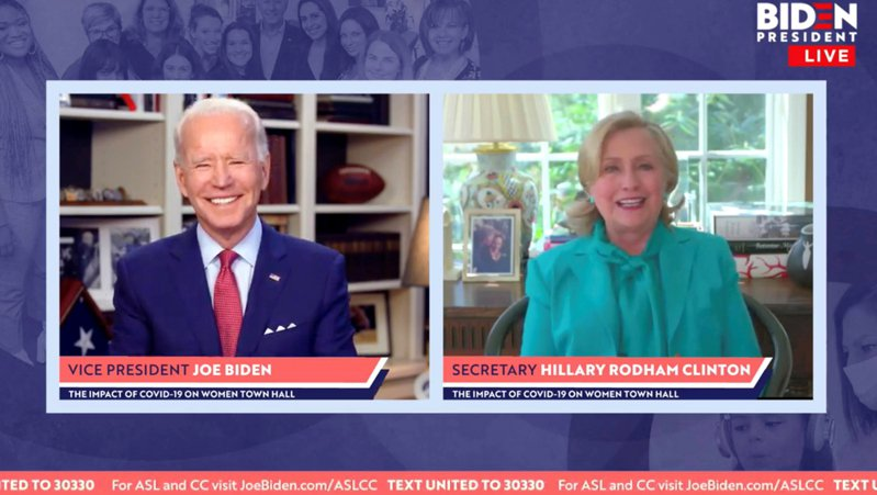 希拉蕊(Hillary Clinton)正式表態,支持拜登(左)競逐今年底舉行的總統大選。 路透社