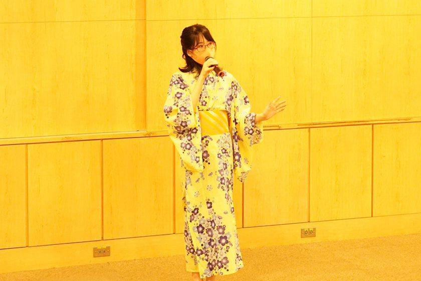 中國科大交換生三平 菜生(日本流通科學大學)穿著日本浴衣,分享在台灣文化的學習心...