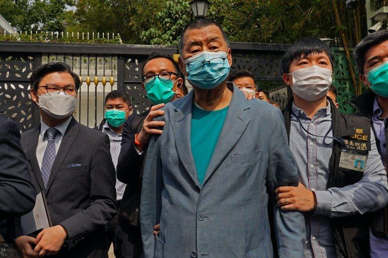 4月18日,香港警方逮捕壹傳媒創辦人黎智英。 圖/美聯社