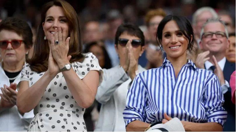 英國皇室妯娌凱特(左)與梅根雖然在公開場合互動友善,私下卻被傳心結已久。圖/路透