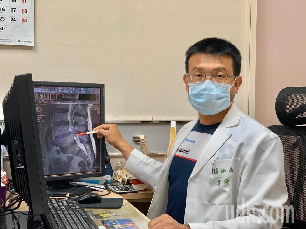 活力得中山脊椎外科醫院院長楊椒喬說明新式脊椎內視鏡神經減壓術的特點,包括:可透視...