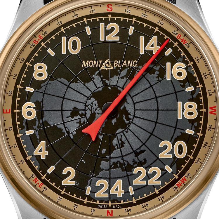 單一大型紅色指針並經夜光塗料處理,加上青銅表殼的方位刻度,可於夜間野外兼具指南針...