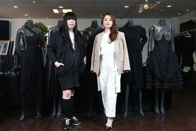 陳德容離婚後第一件事就是和設計師潘怡良(左)合作開發聯名品牌。記者 蘇健忠/攝影