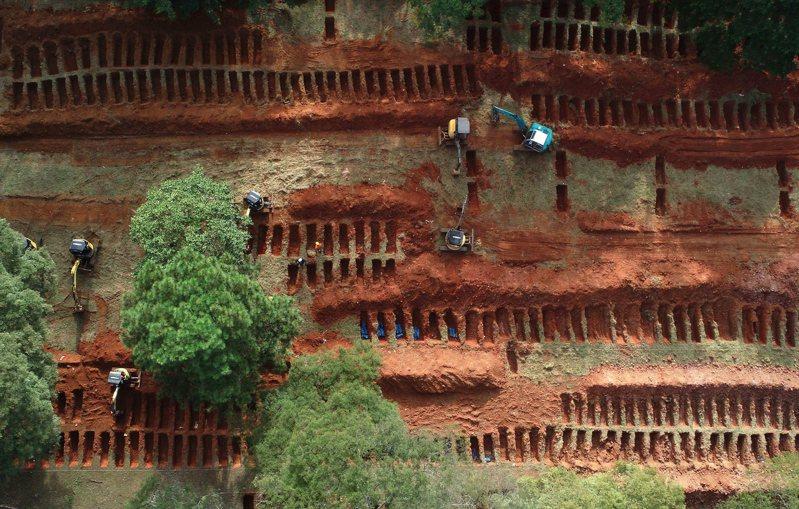 巴西最大城聖保羅20日建造大型公墓,因應新冠病毒疫情可能造成許多人病故。歐新社