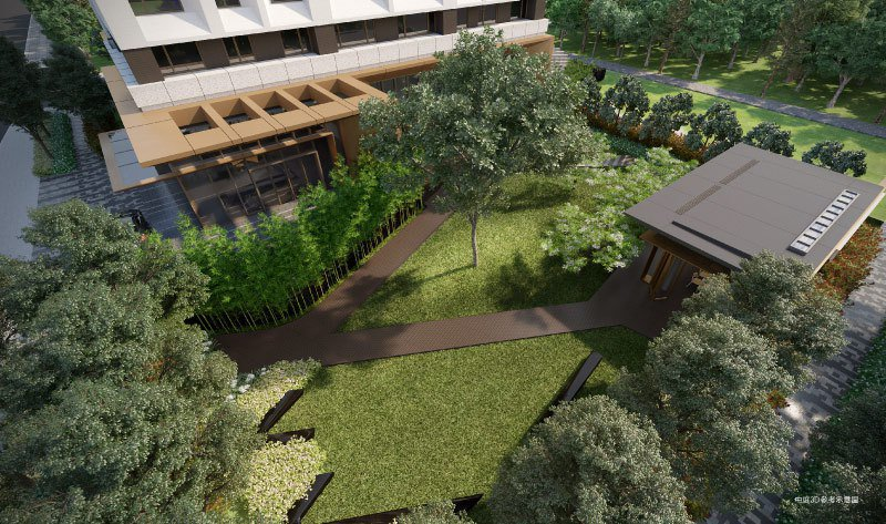 「鐫画」大量植樹,綠意從中庭延伸到屋頂,更嚴選進口健康、節能建材。 圖/大陸建設...