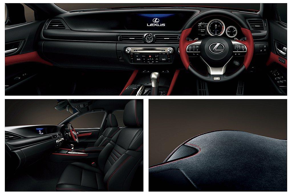 內裝方儀表臺與車門邊等處大量使用Alcantara材質與紅色縫線/皮革,車內飾板...