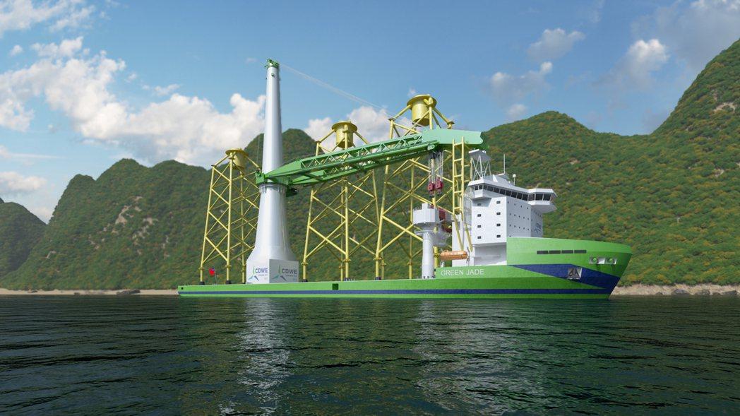第一艘由台灣自製的離岸風電大型浮吊船正式進入建造階段,並命名為「Green Ja...