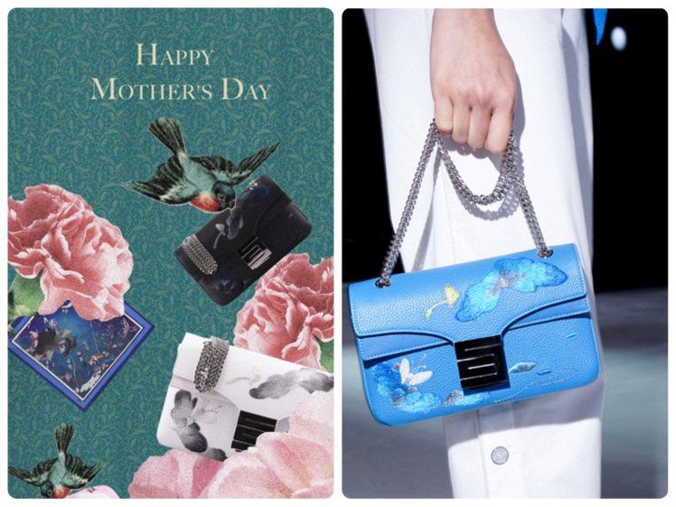 夏姿以物件層疊擺放、豐富色彩,打造母親節的視覺意象,並推出刺繡工藝鍊帶包。圖/夏...