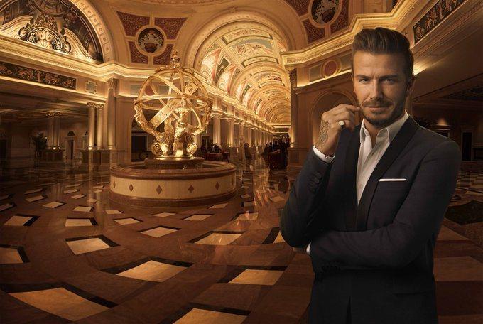貝克漢與金沙集團合作多時,澳門威尼斯人酒店的廣告都主打他。圖/摘自twitter