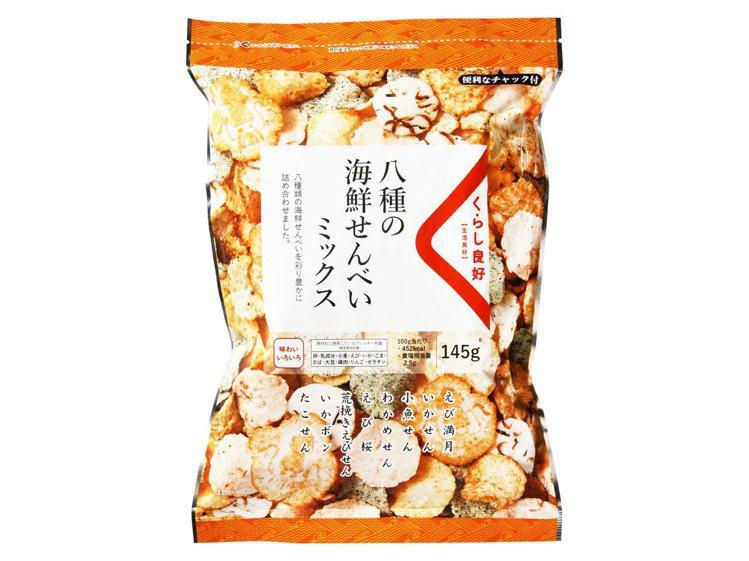 全聯獨家日本零食「生活良好」綜合海鮮仙貝120元、即日起至6月4日止109元。圖...