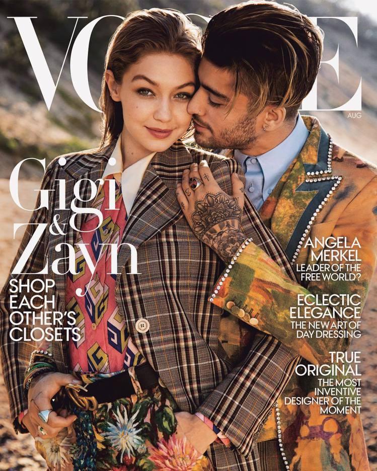 吉吉哈蒂德與贊恩馬利克曾經聯手登上時尚雜誌封面。圖/摘自Vogue