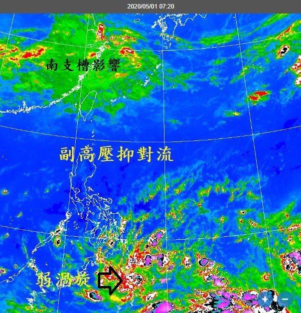 鄭明典表示,副高脊通過呂宋島上空延伸到中南半島,台灣也受到影響。雖然有華南雲系隨南支槽東移,台灣只是雲量增多,降雨現象並不顯著。圖/取自鄭明典臉書