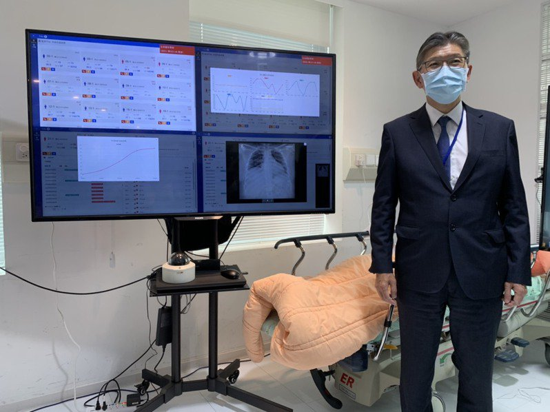台北醫學大學附設醫院與工研院等單位合作,研發「零接觸式防疫科技平台」,大幅降低照顧團隊進入負壓隔離病房的次數。記者陳雨鑫/攝影