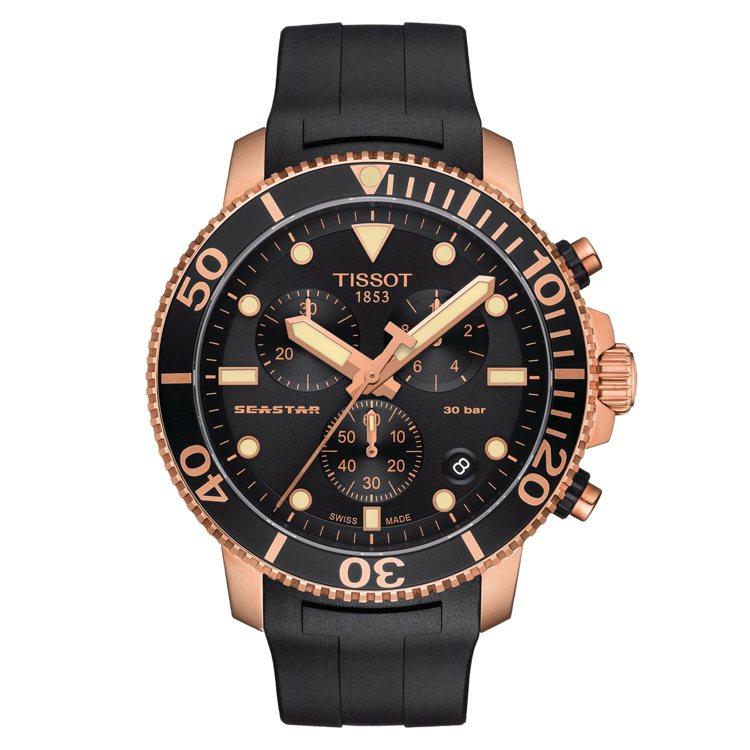 天梭表Seastar 1000潛水計時碼表,石英機芯,鍍玫瑰金不鏽鋼表殼,約20...