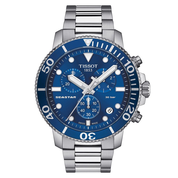 天梭表Seastar 1000潛水計時碼表,石英機芯,不鏽鋼表殼、表鍊,約17,...