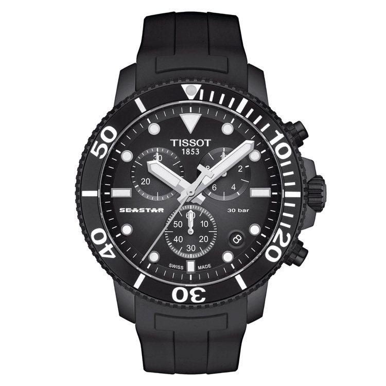 天梭表Seastar 1000潛水計時碼表,石英機芯,黑色PVD不鏽鋼表殼,約2...