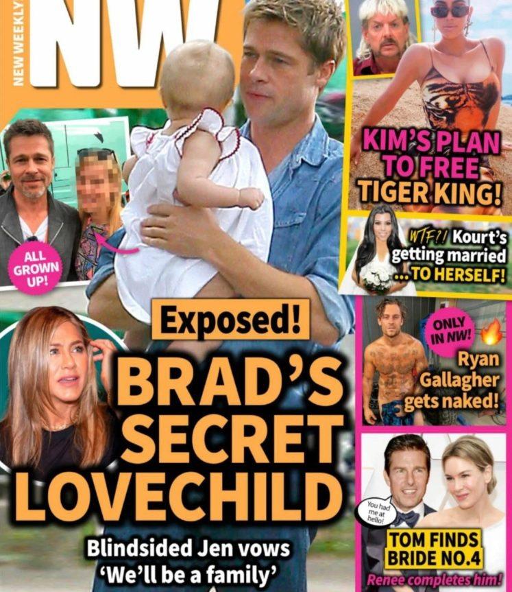 布萊德彼特被瞎掰有私生子,雜誌封面卻是他親女兒的照片。圖/摘自NW