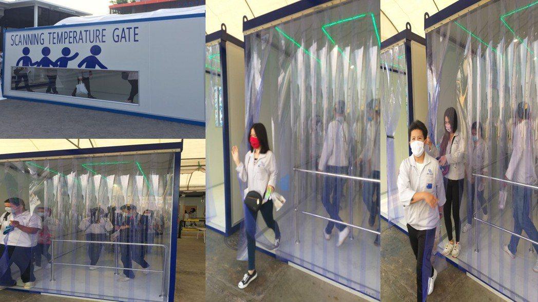 泰鼎在廠區設立消毒隧道,同時也以加倍給薪方式留住員工。 記者尹慧中/攝影