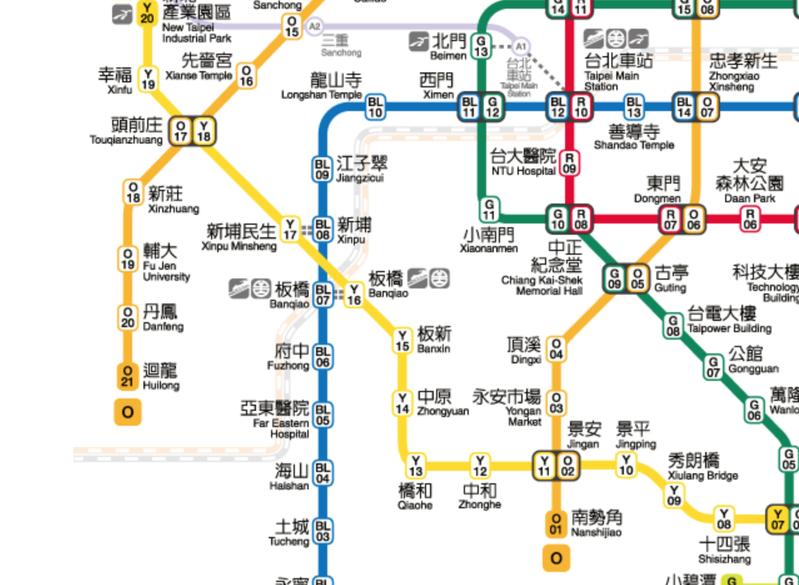一名網友對板橋、新埔區域,共有4個捷運站一事感到十分不解。圖/Taipei Metro