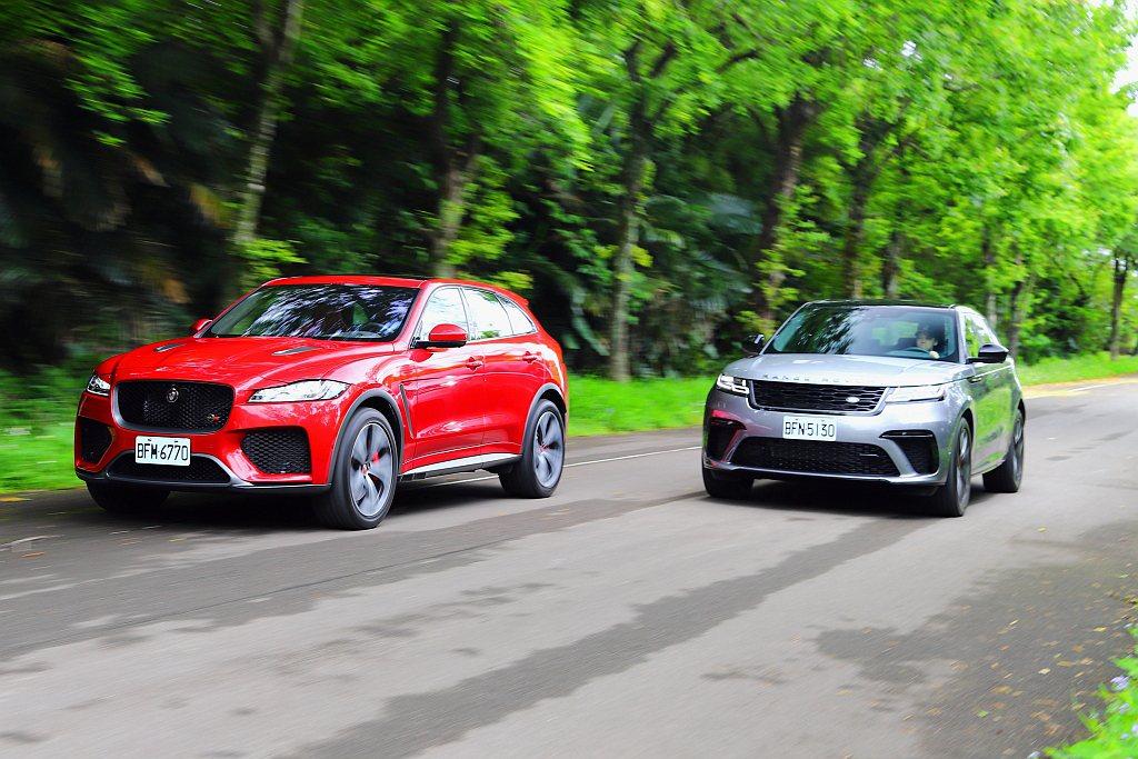 Jaguar F-Pace SVR(左)與Land Rover Range Ro...