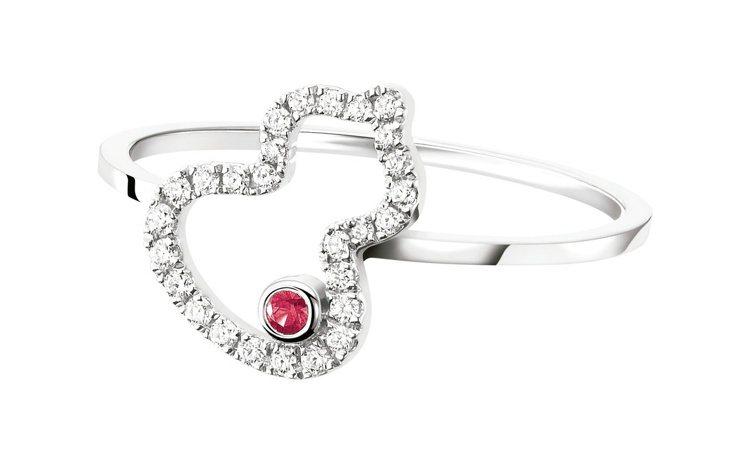 Qeelin,Petite Wulu白金鑲鑽與紅寶石戒指,41,000元。圖 /...