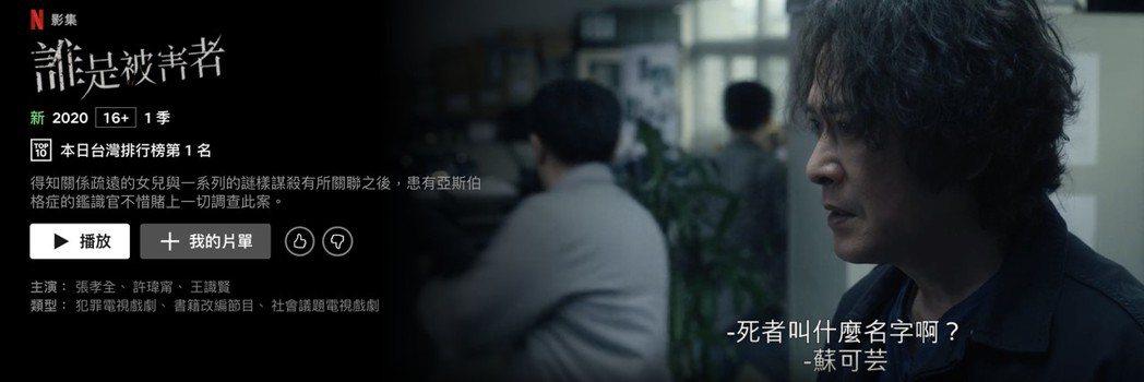 王識賢主演「誰是被害者」,上線48小時攻佔Netflix 排行榜台灣第一。圖/N...