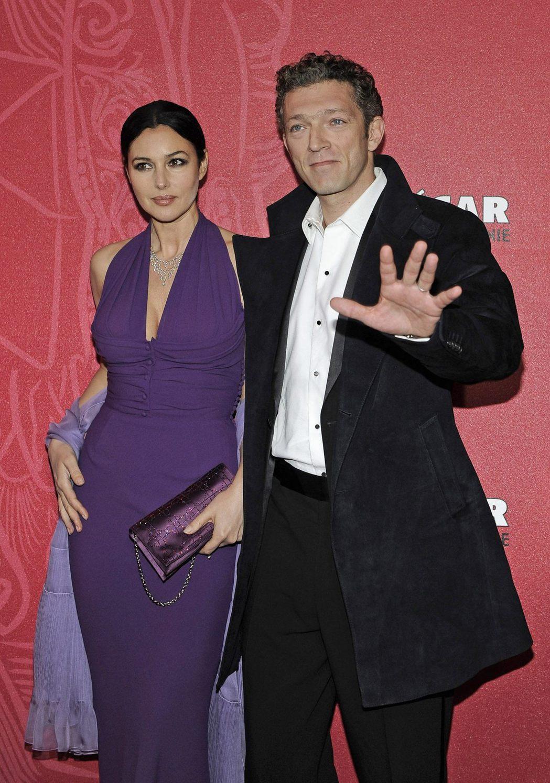 文森卡索(右)與莫妮卡貝露琪曾是歐洲影壇著名的明星夫妻。圖/路透資料照片