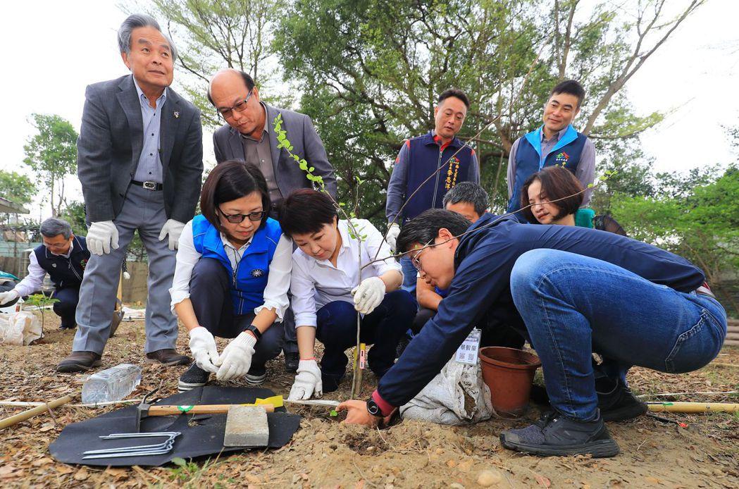 台中市長盧秀燕(前排中)響應種樹的氣候行動倡議,號召市民參與種樹行動。圖/台中市...