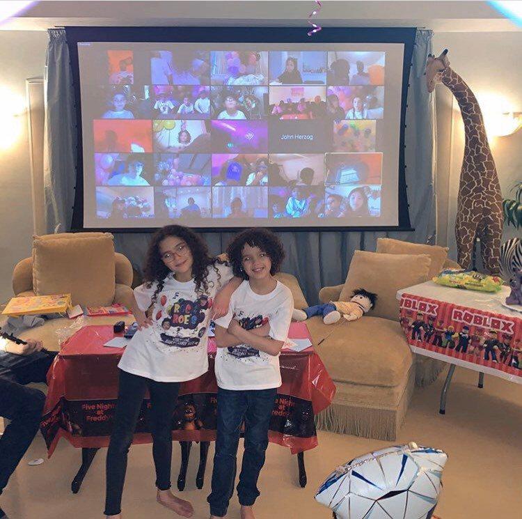 瑪麗亞凱莉為9歲龍鳳胎小孩摩洛哥、夢露過生日,在防疫期間特地舉辦視訊派對。圖/摘...
