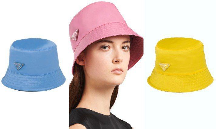 春夏漁夫帽換上粉彩亮色款式,就像現榨的果汁或水果糖一樣新鮮討喜。圖/PRADA提供、摘自官網