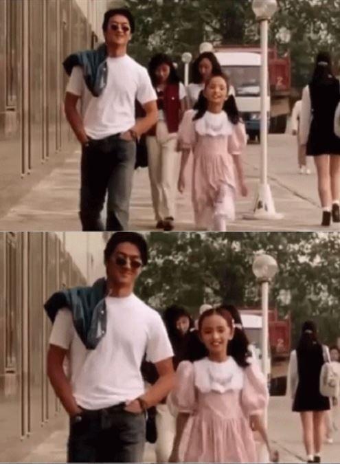 11歲的楊冪與李亞鵬。圖/摘自微博