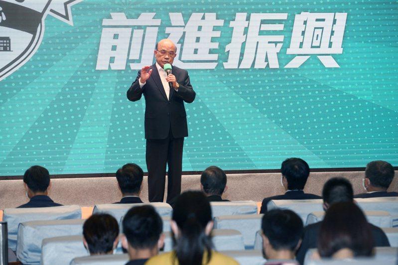 行政院長蘇貞昌(圖)上午出席「行政院紓困振興方案記者會」,說明最新紓困進度。記者蘇健忠/攝影
