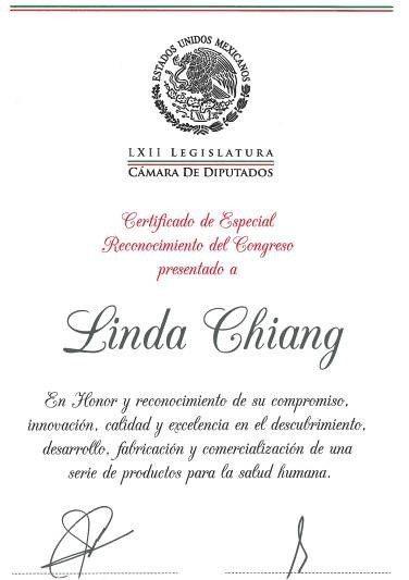 2014年墨西哥國會表彰狀。