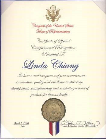 2010年美國國會表彰狀。
