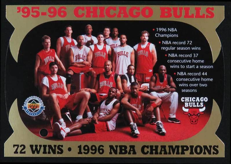 1996年公牛第二度開啟3連霸王朝時,陣中除了喬丹、皮彭、羅德曼外,請說出還有哪些球員?(答案在文末) 1996 Upper Deck 球員卡